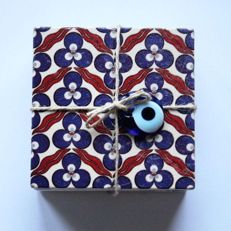 Set of Four Iznik Ceramic Design Travertine Tiles 10 x 10cm