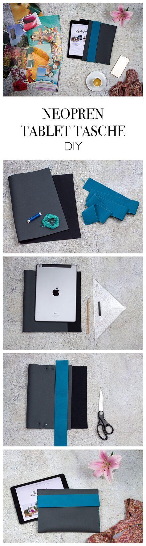 DIY Neopren Tablet Tasche nähen mit Gummiband - Geschenkidee - Step-by-Step Anleitung - DIY Blog lindaloves.de