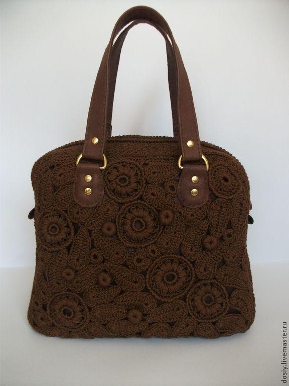 """Купить вязаная сумка """"Магнат"""", цвет: шоколадный - коричневый, однотонный, женская сумка, сумка женская"""