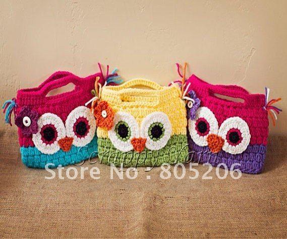 20pcs/lot Crochet owl bag for little girl baby knitted wallet,Children handmade purses cotton crochet handbag free shipping(China (Mainland))