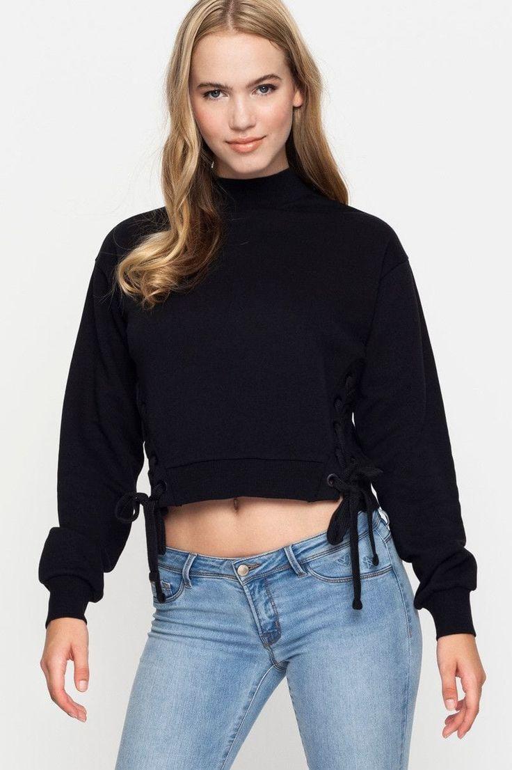 Black Sweatshirt with Tie Sides