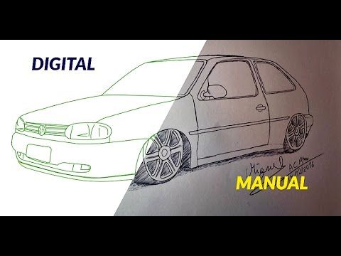 Como desenhar carros Volkswagen Gol 2 ( rebaixado ) Passo a Passo DIGITA...