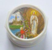 Plastic White Rosary Box.