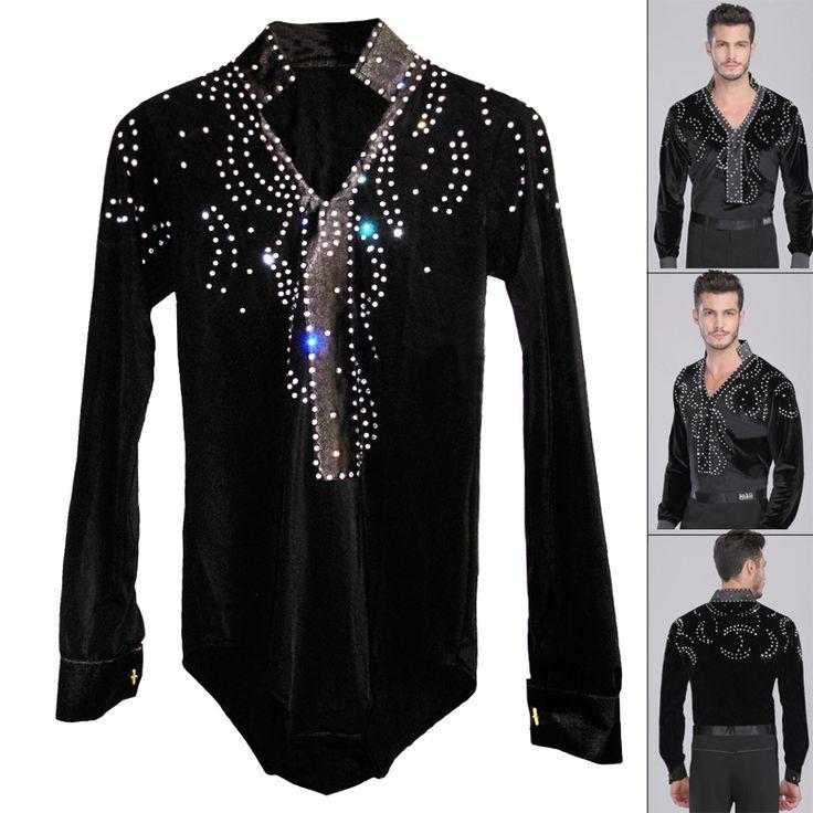 US $45.60 / piece Man Latin Ballroom Dancing Dresses Top High-Grade Velvet Dance Wear Drilling Boy Clothes For Dancing Men Dance Exercise Shirt