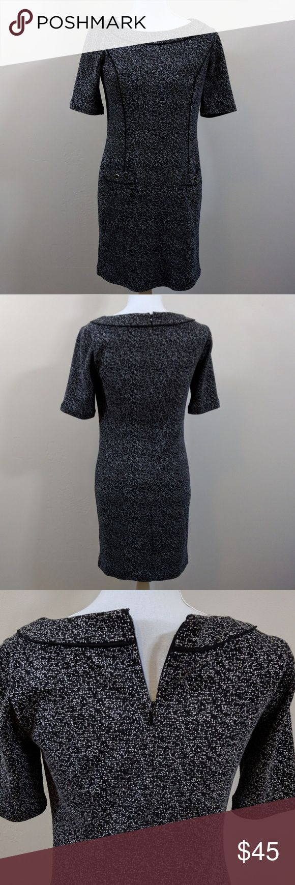 WHBM grey and black dress size 4 Super cute! This is great from work to date night. Lined with soft 100% polyester. Shell is polyester cotton mix. Two functional pockets on front of dress. Zip closure with clasp on back. Elbow sleeves and high neckline make this a modest dress!  Excellent condition!! White House Black Market Dresses Midi