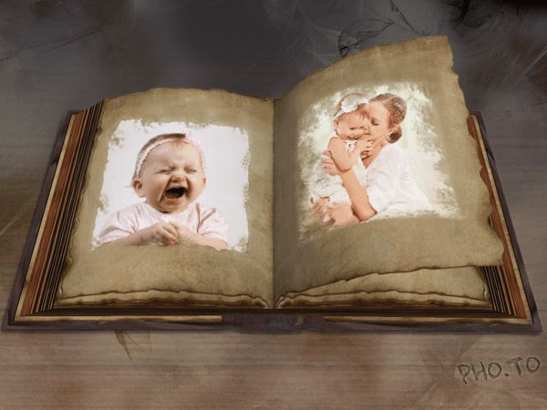 Vintage portrait photos are shown in an old-fashioned online photo album.