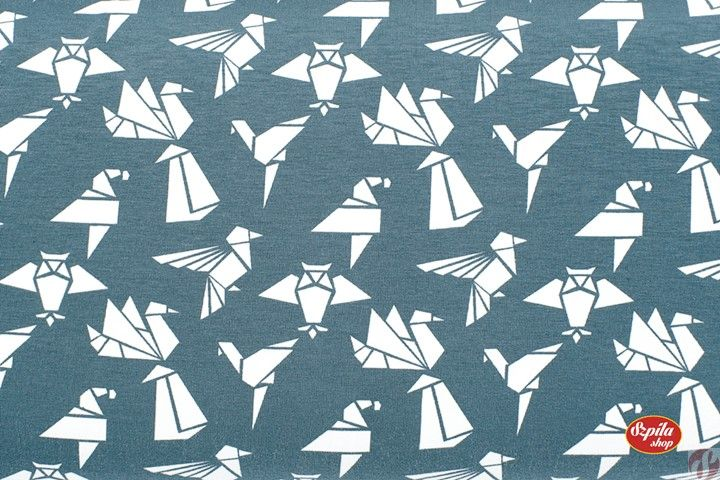 Ptaki origami Origami Birds single jersey Szpila Shop