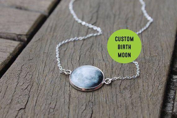 Birth Moon Necklace - Personalised Birthmoon Pendant - Custom Glass Dome full moon Necklace Birthday Birthstone
