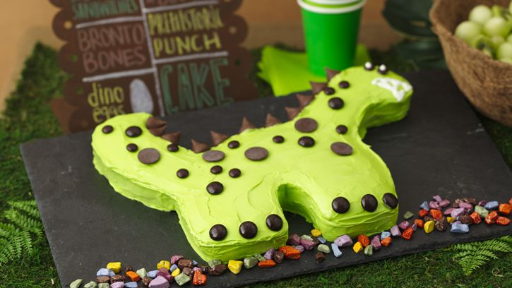For a birthday party of prehistoric proportions, think dinosaurs. Betty's Jurassic-era bash comes complete with an easy-to-make T-Rex birthday cake, Brontosaurus cookie bones and simple dollar-store party favors.