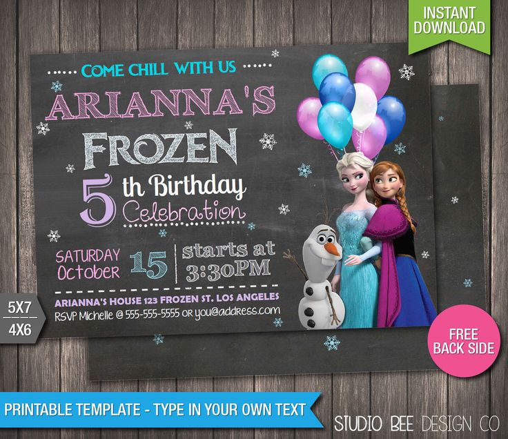 Sale - 75% OFF - Frozen Invitation - INSTANT DOWNLOAD - Printable Disney Frozen Birthday Invitation - DiY Personalize & Print - fr257 by StudioBeeDesignCo on Etsy https://www.etsy.com/listing/233609262/sale-75-off-frozen-invitation-instant