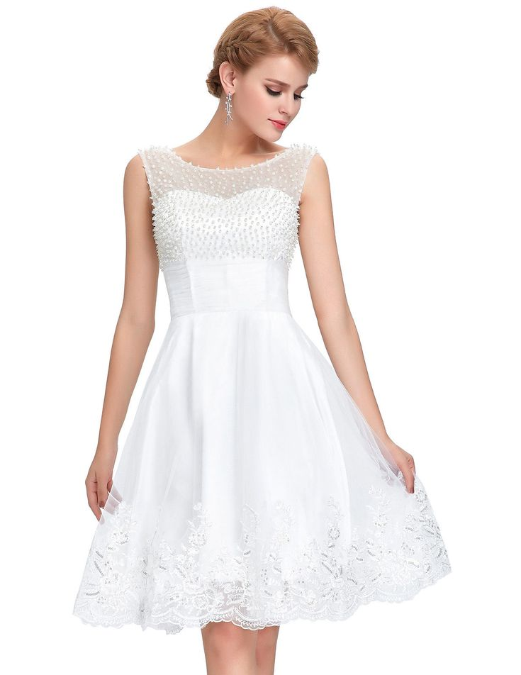 White cocktail dress with small pearls
