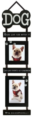 Showcase man's best friend in this whimsical black wall frame. Wood collage frame features a dog bone