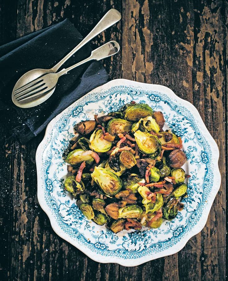 Roasted balsamic brussels sprouts, chestnuts and bacon by Billy Law from Man Food | Cooked