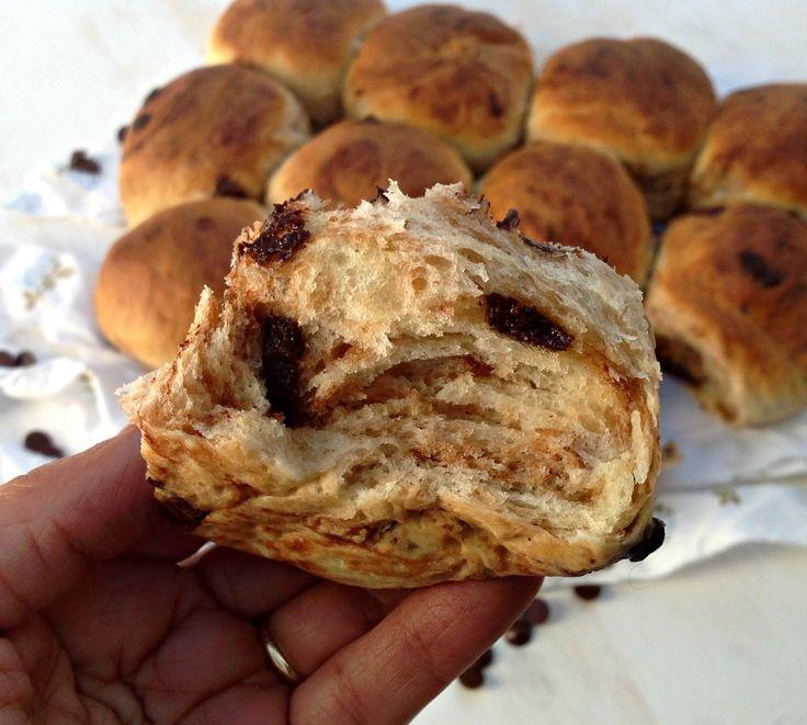 Mi mundo pinkcake: Chokoladehveder - pan danés con pepitas de chocolate