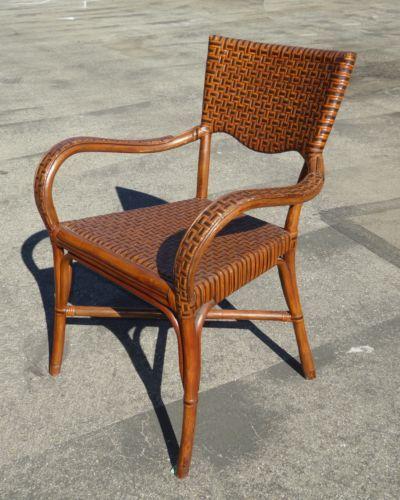 Старинные Тики Палм Бич стиль ротанг и кожа тканые бамбука обеденные стулья   eBay