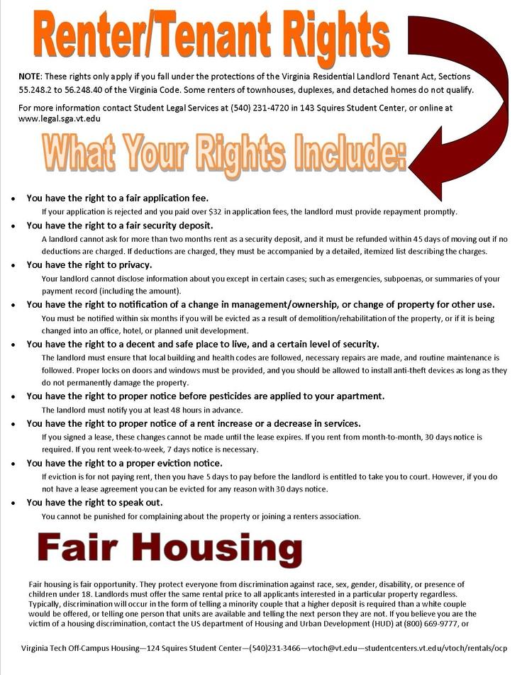 Renter Tenant Rights Vtoch Virginia Tech Off Campus