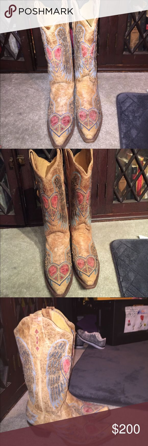 Corral Vintage Peace heart cowboy boots 8.5 women's Corral Boots almost new. Got for my 40th birthday. Love them. Time to move on. Corral Vintage Shoes Heeled Boots