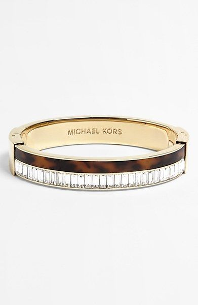 Michael By Michael Kors Modernist Glitz Hinged Bangle in Gold (Gold/ Tortoise/ Clear Crystal) | Lyst