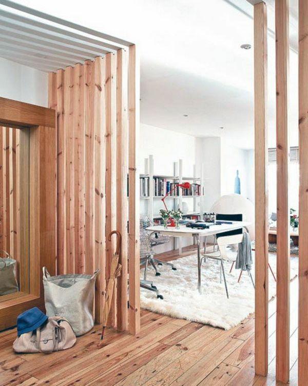raumteiler-pfirsig-farbe - bretter - 42 kreative Raumteiler Ideen für Ihr Zuhause