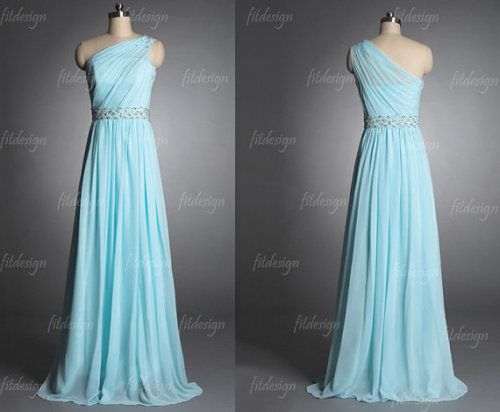 tiffany blue prom dress long prom dress one shoulder by fitdesign