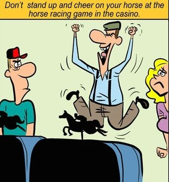 Don't stand up and cheer on your horse at the horse racing game in the casino. #casino #game #pokiesandslots