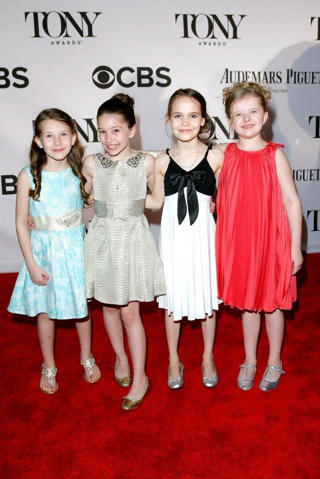 Sophia Gennusa, Bailey Ryon, Oona Laurence and Milly Shapiro on the Audemars Piguet 2013 Tony Awards Red Carpet.