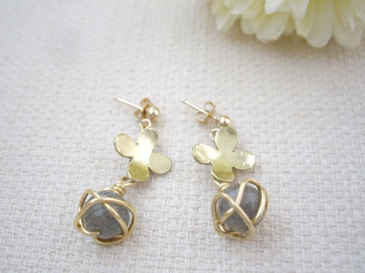 Labradorite and gold flower earrings, Wire caged dangle earrings, Unique and simple short earrings, Gift for her, for mom, Free gift wrap - pinned by pin4etsy.com
