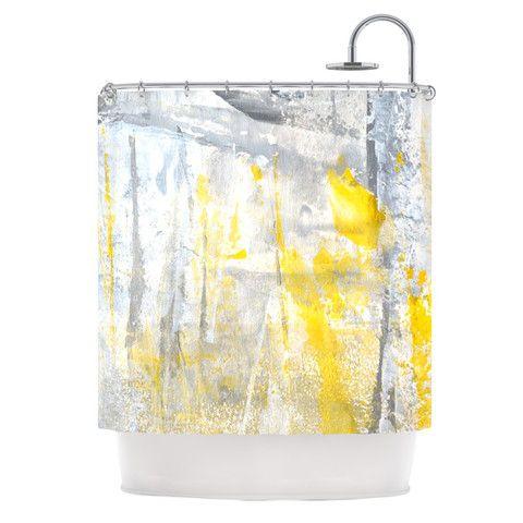 "CarolLynn Tice ""Abstraction"" Grey Yellow Shower Curtain | KESS InHouse"