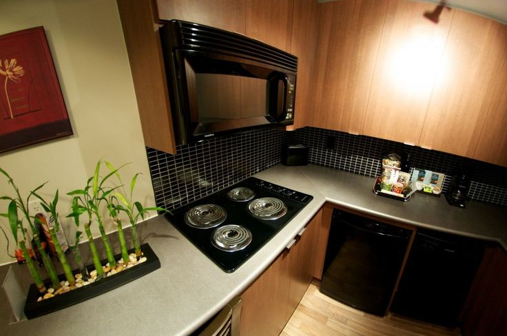 Small Kitchen With Black Appliances