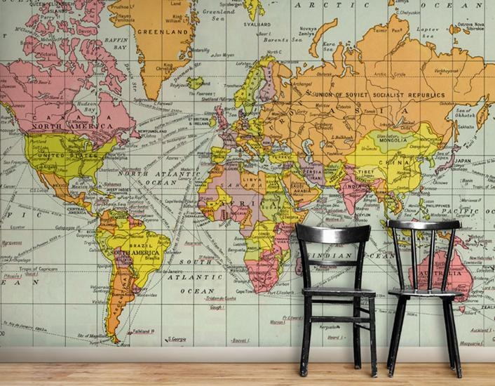 Wallpaper Space Vintage World Map