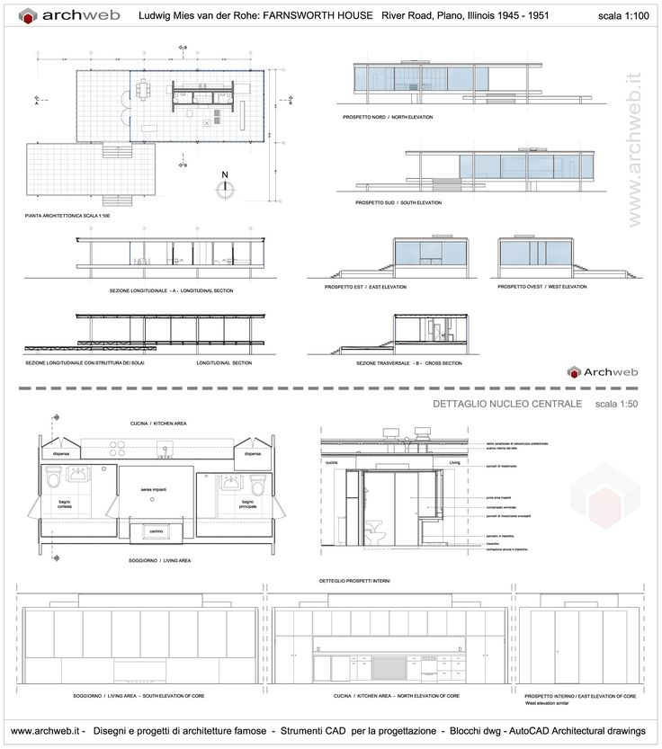 Farnsworth House drawings plan                                                                                                                                                                                 Más