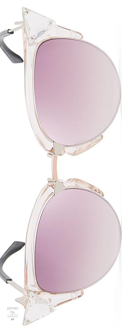 Fendi Pink Crystal Embellished Cat Eye Sunglasses | LOLO❤︎