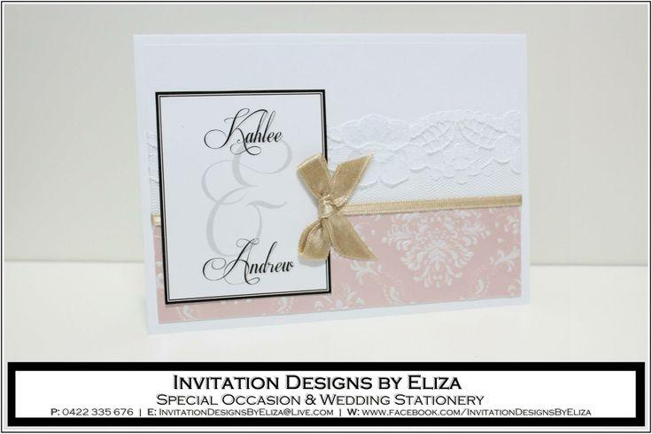 Invitation Designs {Wedding} Pink, White & Gold Theme www.facebook.com/InvitationDesignsByEliza