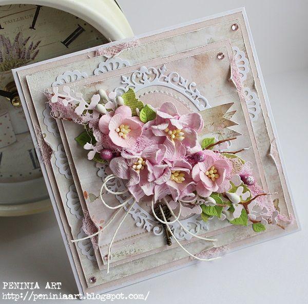 Dziś chciałam pokazać Wam karteczkę w delikatnych różanych kolorach...  z nutką romantyzmu i z kluczem do serca...                 Kar...