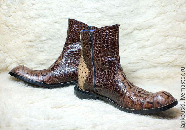 Купить Полусапоги из кожи страуса - комбинированный, стильная обувь, кожа страуса, натуральная кожа