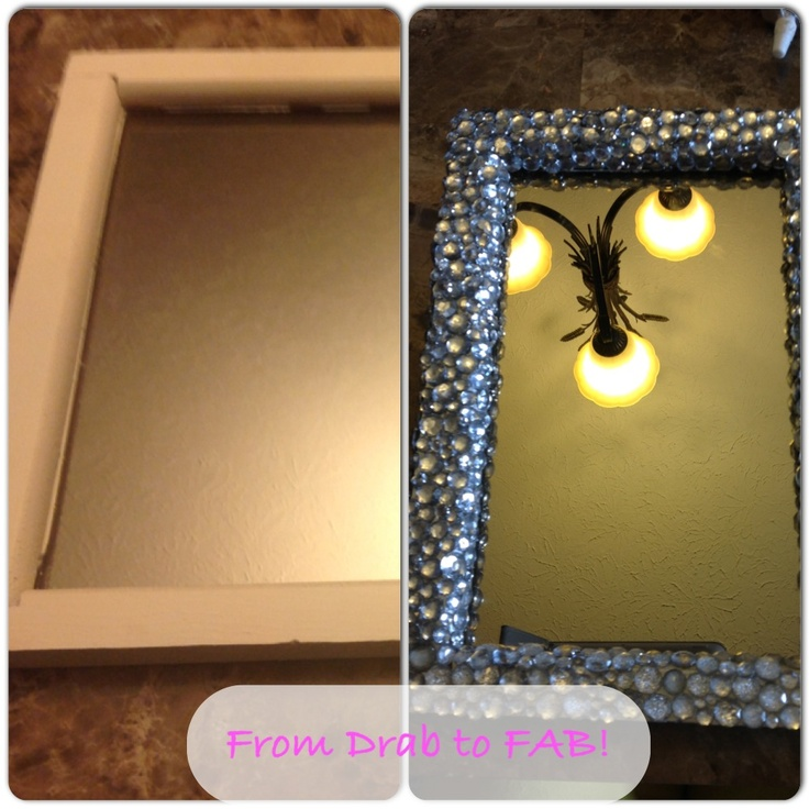 Bling Around Mirror ( Can Buy Diamonds At Dollar Store Or Walmart And Use  Glue Gun