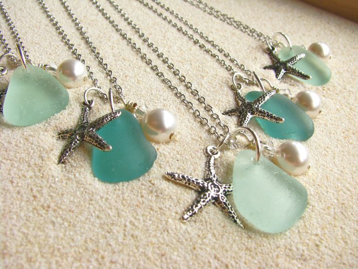 order glasses on line sea glass and starfish neclace  jewelry