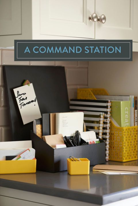 Busy parents know command stations are a must. With a small swath of counter space and an organizing caddy or two, you'll corral permission slips, receipts, and reminders and never find yourself scavenging for a pen again.