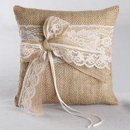 Country Romance Burlap Ring Pillow