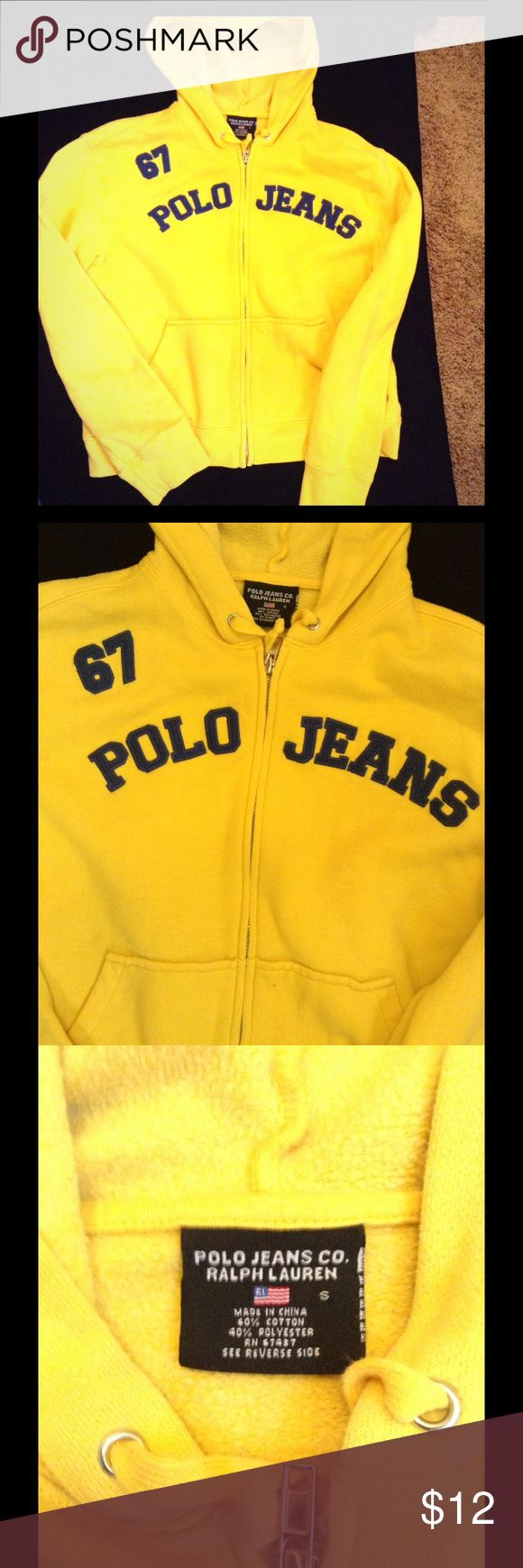 Big boys size small polo jeans hoodie Bright yellow polo jeans hoodie navy lettering size small big boys Polo by Ralph Lauren Shirts & Tops Sweatshirts & Hoodies