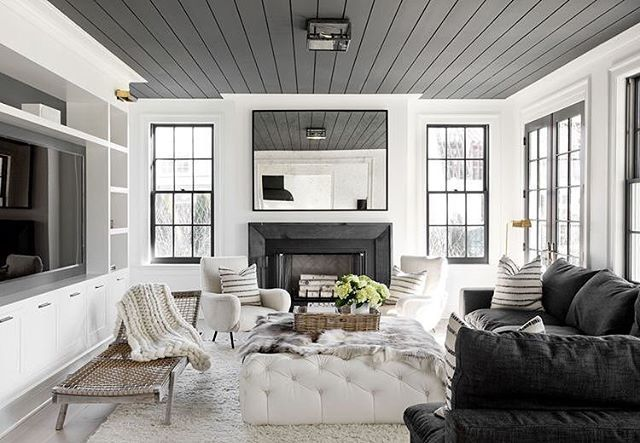 Love love love this living room posted by  @beckiowens | Designed by @tamaramageldesign | the dark grey ceiling and the windows are just to die for  #interiordesign #livingroom #beckiowens #tamaramageldesign