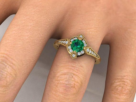 Antique style rings, Natural emerald ring, Edwardian era inspired ring in Yellow gold