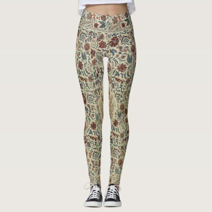 vintage floral  pattern soft hues small print leggings - floral style flower flowers stylish diy personalize