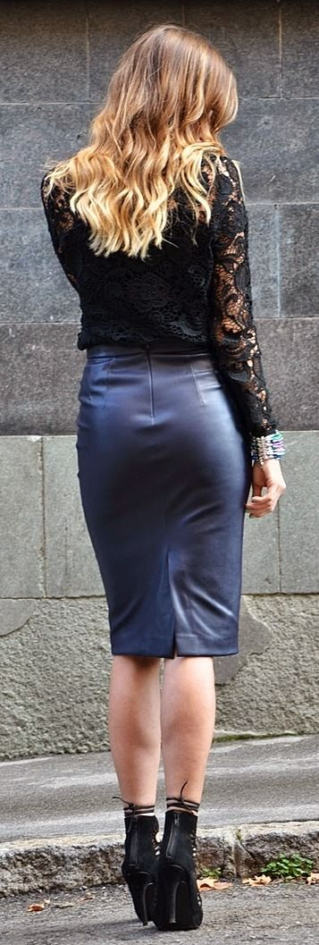 faux leather pencil skirt with lace top