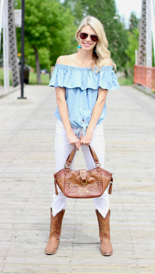 Calgary Stampede Style: Off the shoulder denim shirt, white jeans, cowboy boots