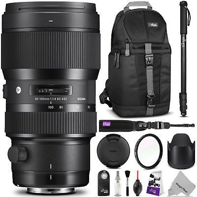 Sigma 50-100mm f/1.8 DC HSM Art Lens for Canon EF 693954 with Accessories Bundle