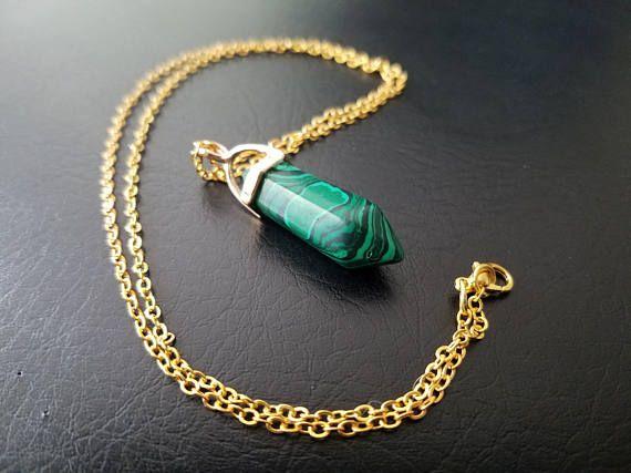 #Malachite #Quartz #Chakra #Stone Pendant Hexagon #Reiki Healing #Gold necklace
