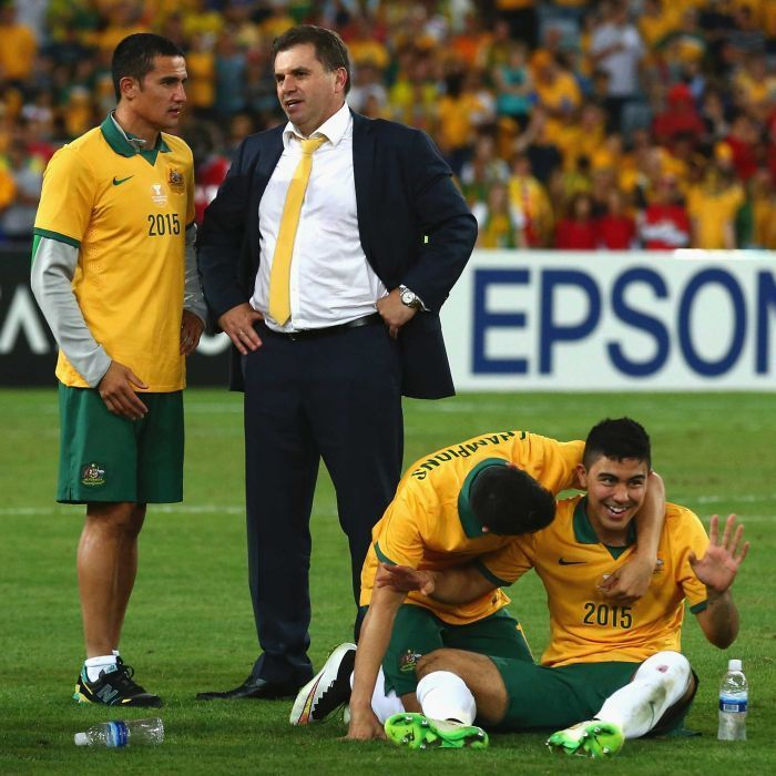 Postecoglou laps up moment with Socceroos - Australian coach Ange Postecoglou, Tim Cahill of Australia and Massimo Luongo look on after the 2015 Asian Cup final against South Korea at Stadium Australia on January 31, 2015 in Sydney.