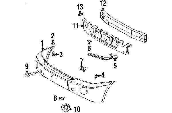 2007 Toyota Highlander Base Bumper & Components Diagram