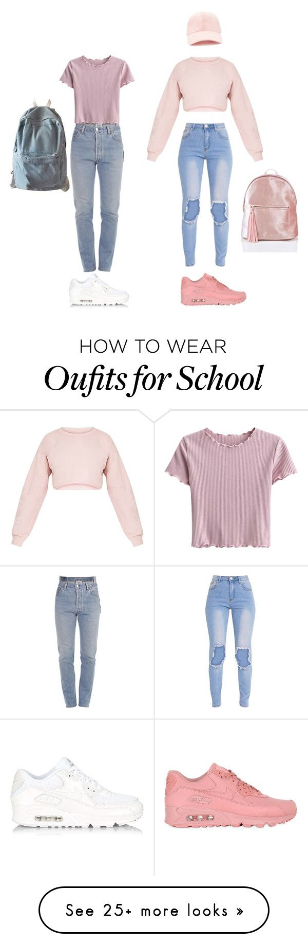 """""""real vs not real"""" by sherise-roetz on Polyvore featuring Vetements, NIKE, Forever 21, WithChic, Pink and 90s"""